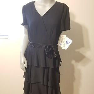 {Julian Taylor} Tiered Black Dress with Bow NWT